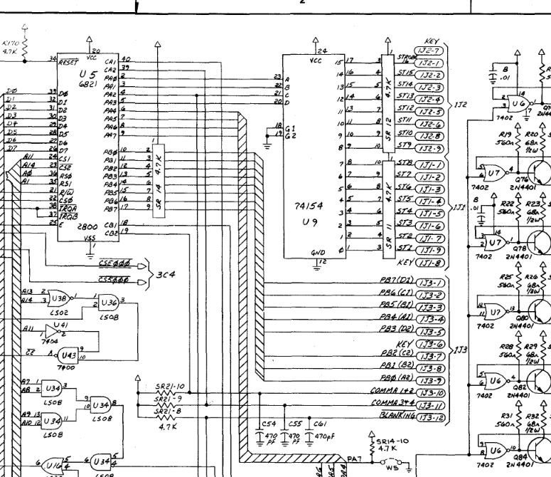 Williams System 9 display circuit schematic