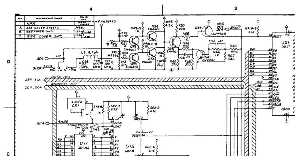 Williams pinball ball and shuffle alley System 11 RESET circuit schematic.